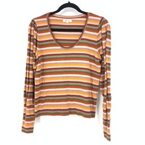 Madewell Size M Striped Puff Sleeve Scoopneck Top